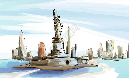 自由女神像插图手绘图片