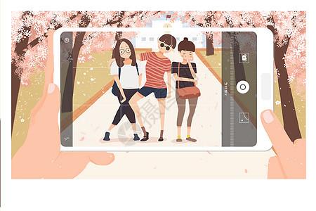 开学季之校园樱花树下合影图片