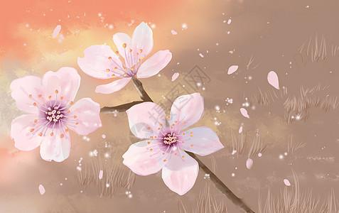 小清新手绘春天樱花图片