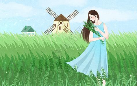 春天田野里的少女图片