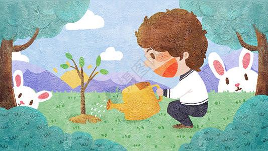 植树节男孩栽种小树苗插画图片