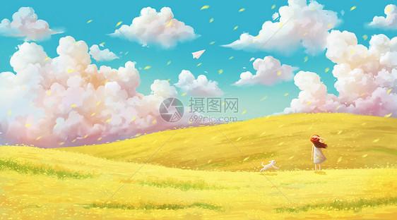 春天的油菜花田图片