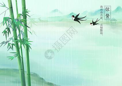 唯美竹子山水背景图片