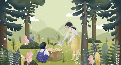 小清新亲子植树节插画图片