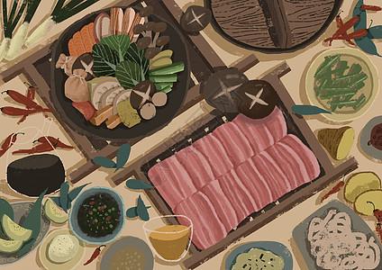 火锅美食插画图片