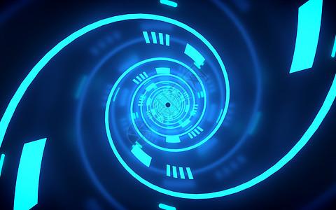 科技空间灯光隧道图片