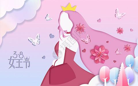 粉色剪纸风女王节插画图片