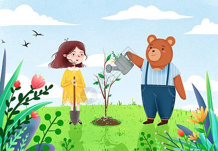 植树节插画图片