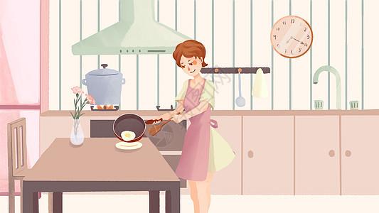 妇女节烹饪的美女人物插画图片