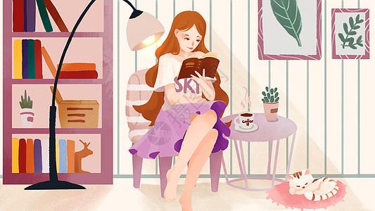 3.8妇女节看书的美女人物插画图片