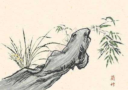 水墨的兰花竹树图片