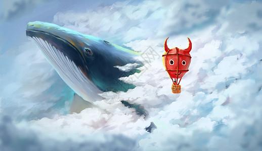 云层中的热气球与鲸鱼图片