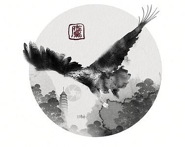 手绘老鹰水墨创意点绘中国风图片