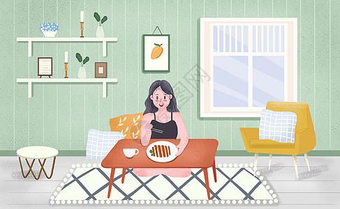 小清新居家吃饭生活插画图片