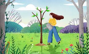 小清新植树节插画图片