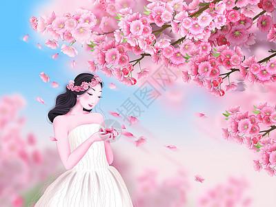 樱花树下时尚美女图片