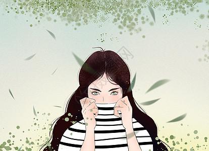 绿色中式小清新可爱条纹衣服女孩插画图片