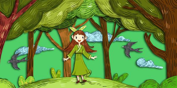 雨中故事_小女孩树林打伞插画插画图片下载-正版图片400065309-摄图网