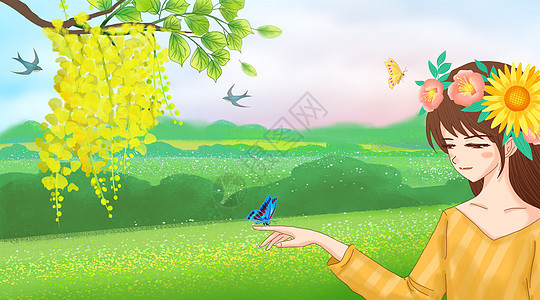 初春插画图片