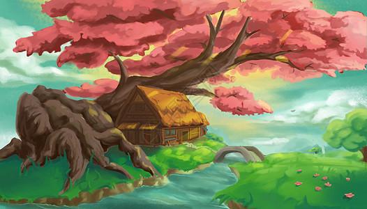 红樱木屋图片