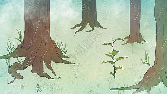 绿色小清新树林里小草生长春天插画图片