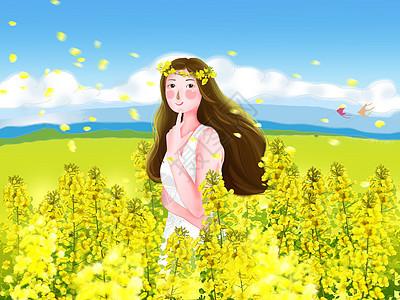 油菜花海中的女孩图片