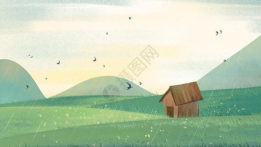 绿色小清新房子草原春天下雨插画图片