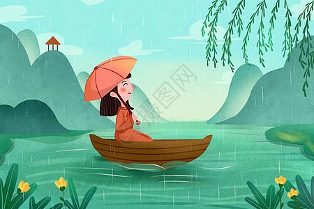 清明节雨天插画图片