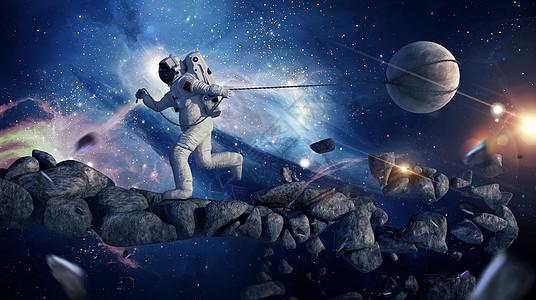 创意宇航员拖拽地球图片