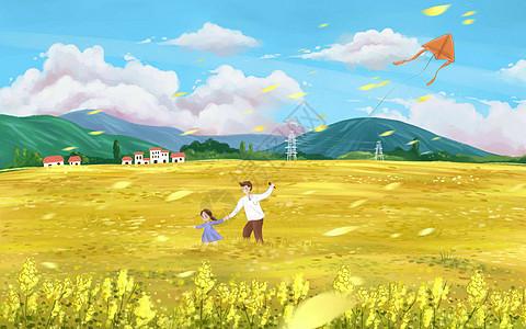 油菜花田里放风筝图片