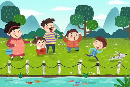 春季郊外河边散步游玩插画图片