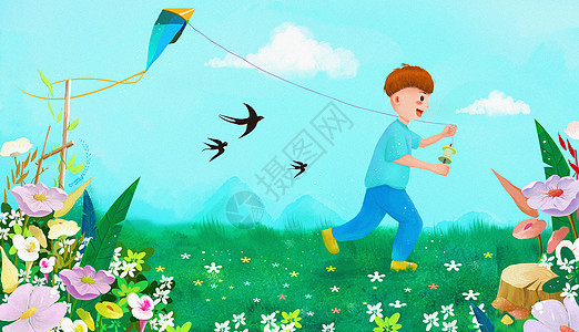 春天草地上放风筝的男孩图片