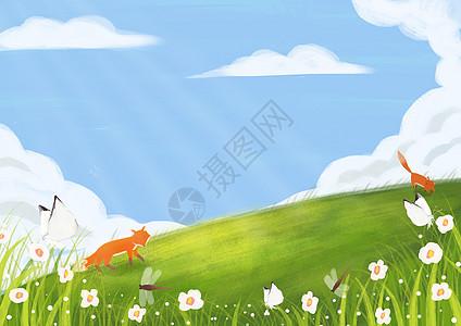 草坡上的风景图片