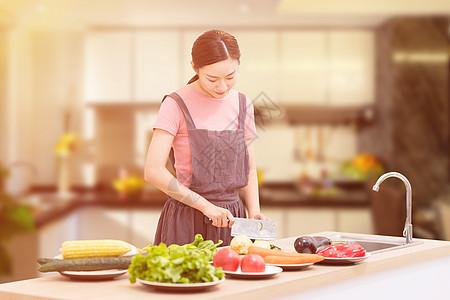 家庭妇女厨房做饭图片