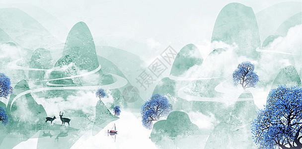 春季山水插画图片