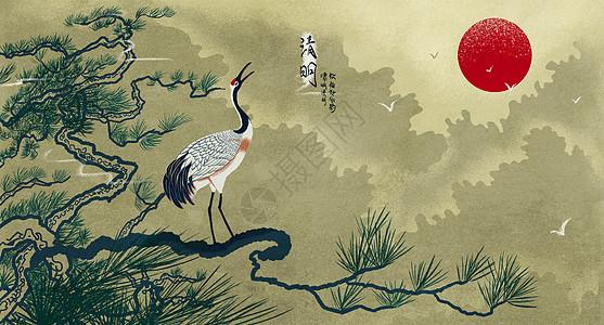 中国风清明节仙鹤图片