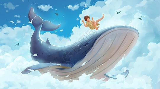 与鲸鱼在云层嬉戏的女孩图片