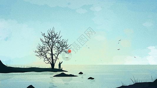 蓝色小清新海边男子挥手插画图片