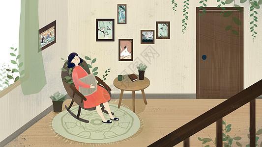 棕色小清新女子午睡家居森系插画图片