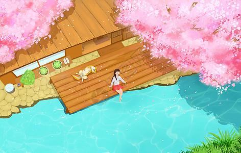 坐在院子里赏花的女生图片