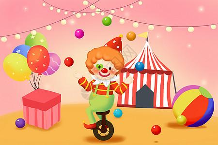 愚人节之小丑抛球欢乐插画图片