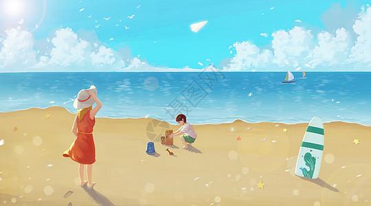 海边度假的母子图片