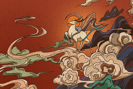 神鹿壁画图片