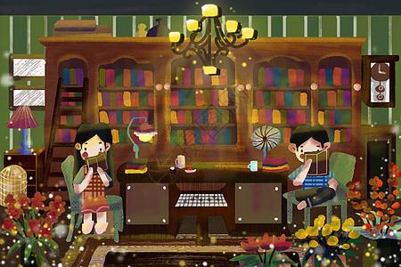 世界读书日书房情侣阅读图片