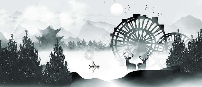 中国风水车山水水墨图片