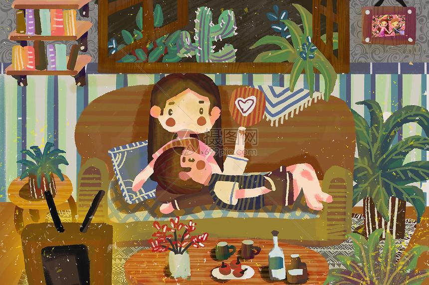 情侣立夏室内看电视图片