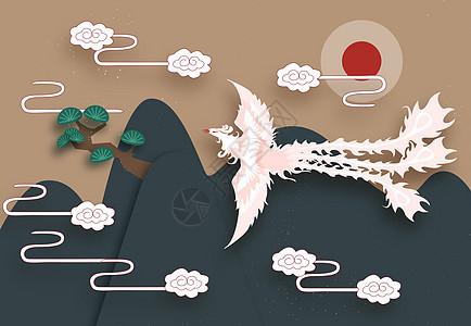中国风凤凰插画图片