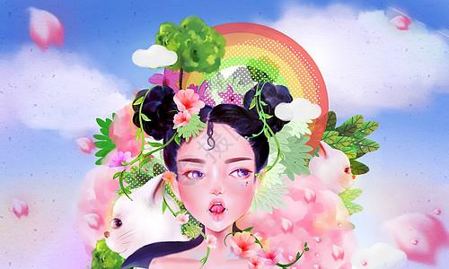 春风盛开的樱花女孩图片