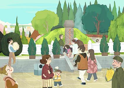 参观烈士陵园图片