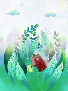 春天 的稻田下雨后小兔和小熊在玩耍图片